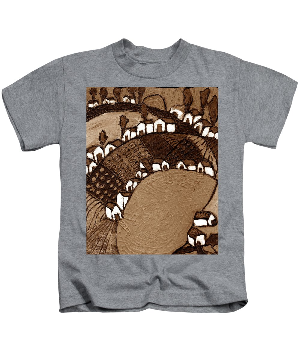 Pond Kids T-Shirt featuring the painting Around The Pond Sepia by Wayne Potrafka