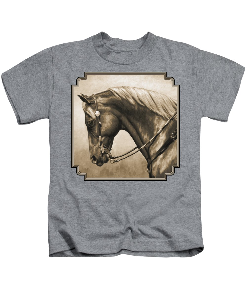 Horse Kids T-Shirt featuring the painting Western Horse Painting In Sepia by Crista Forest