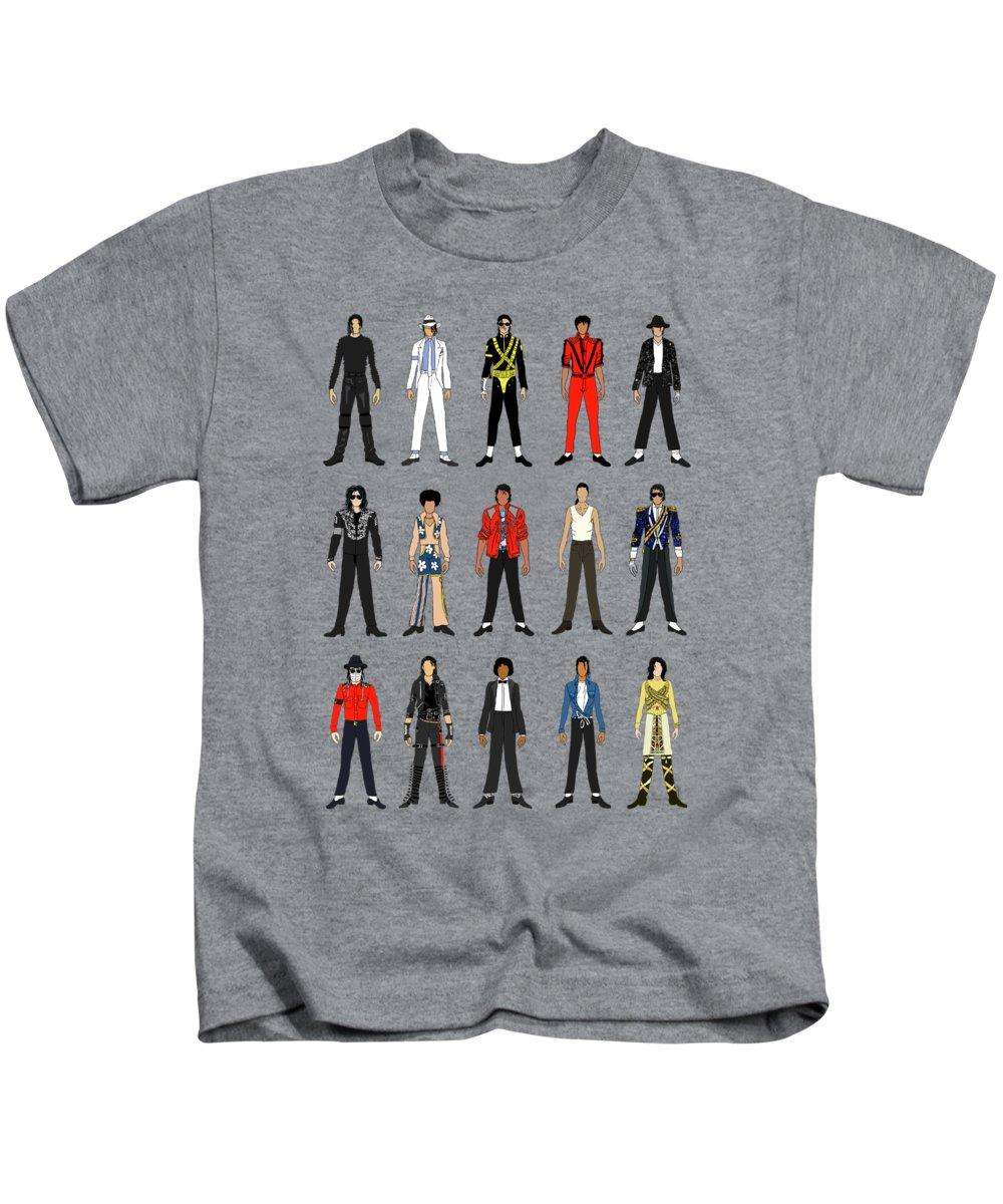 Michael Jackson Kids T-Shirt featuring the digital art Outfits Of Michael Jackson by Notsniw Art