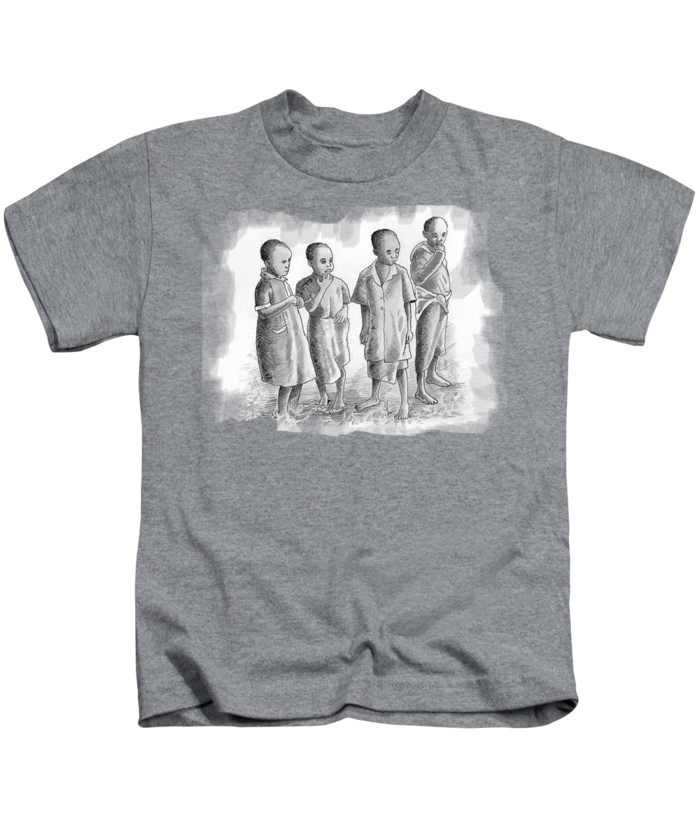 Biro Kids T-Shirt featuring the mixed media Children Together by Anthony Mwangi