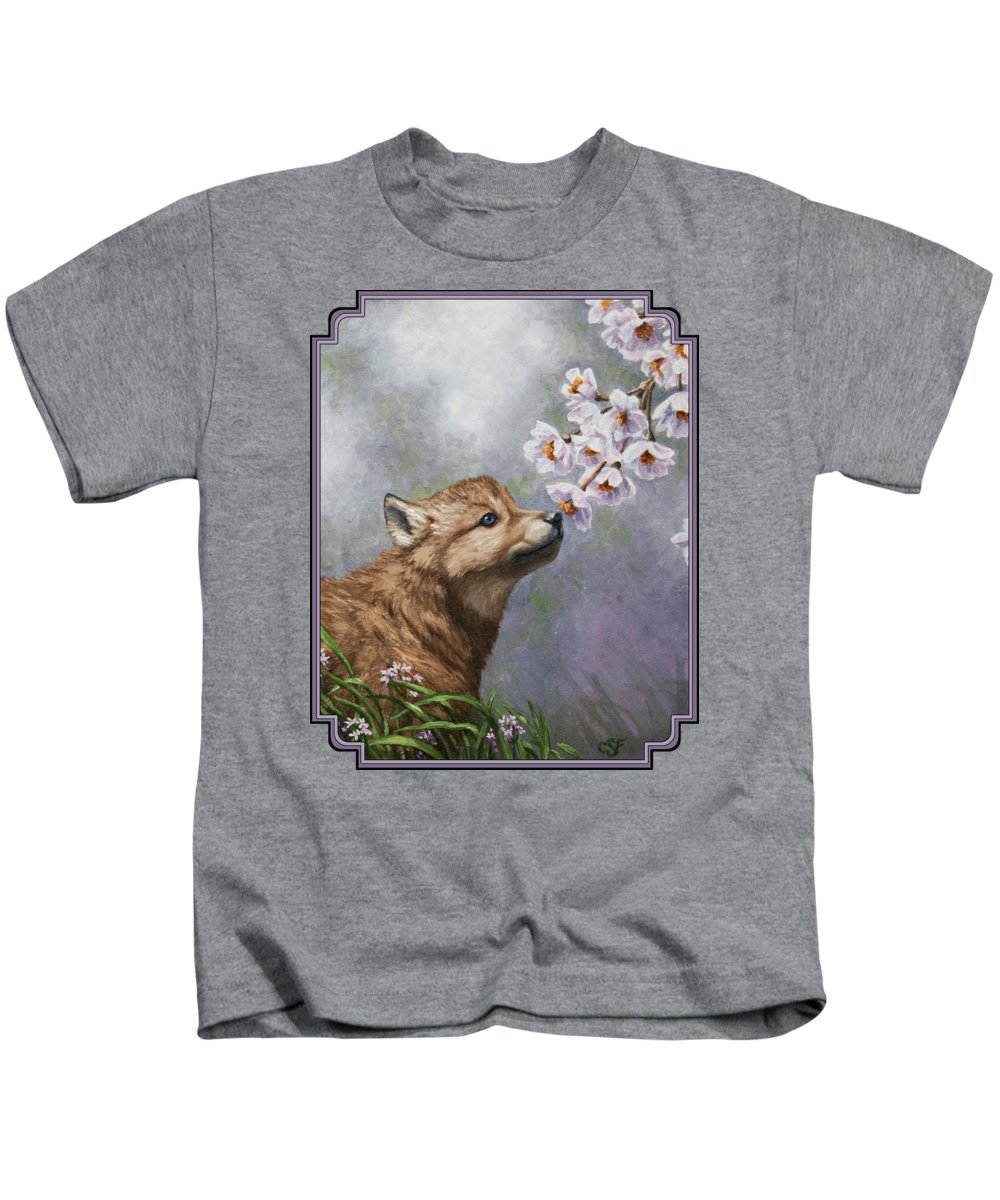 Wolf Kids T-Shirt featuring the painting Wolf Pup - Baby Blossoms by Crista Forest