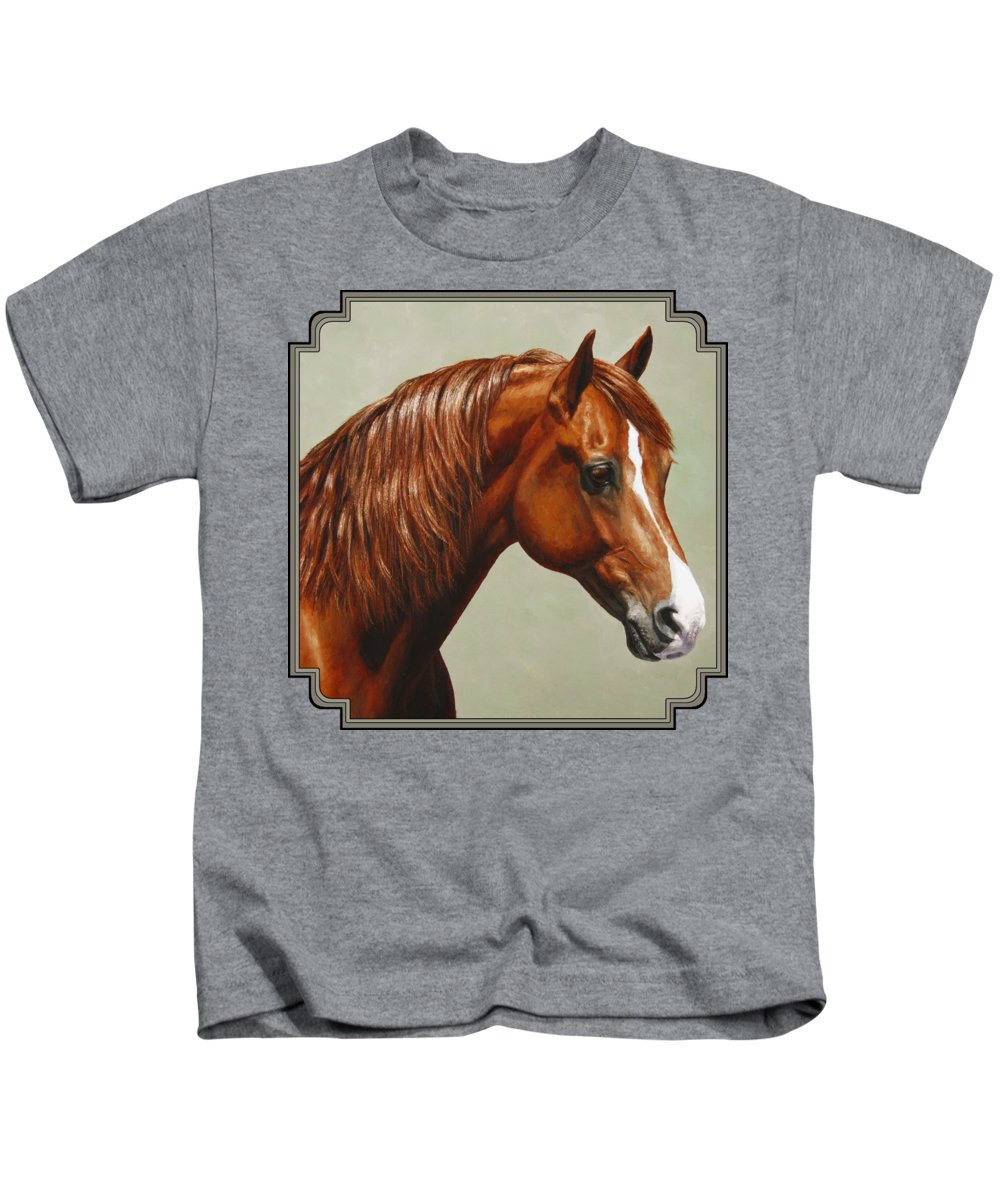 Horse Kids T-Shirt featuring the painting Morgan Horse - Flame by Crista Forest