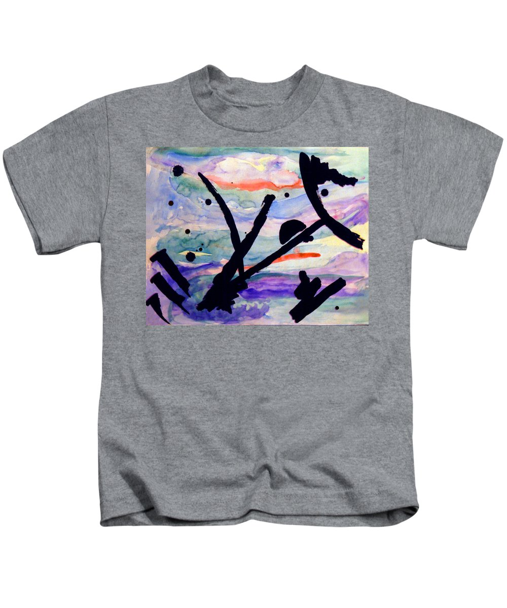 Abstract Kids T-Shirt featuring the painting Asian Impression by Steve Karol