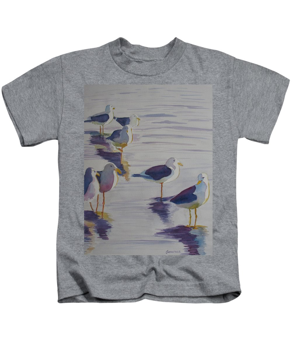 Seagulls Kids T-Shirt featuring the painting Assorted Gulls by Jenny Armitage