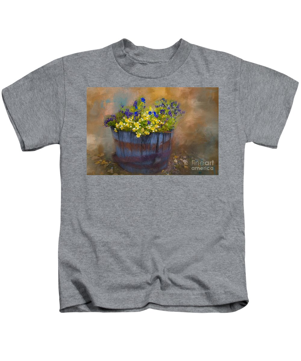 Pansies Kids T-Shirt featuring the painting At Rika's Roadhouse by Eva Lechner