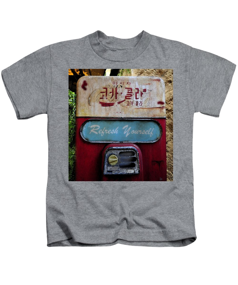 Coke Machine Kids T-Shirt featuring the painting At The Ends Of The Earth by David Lee Thompson