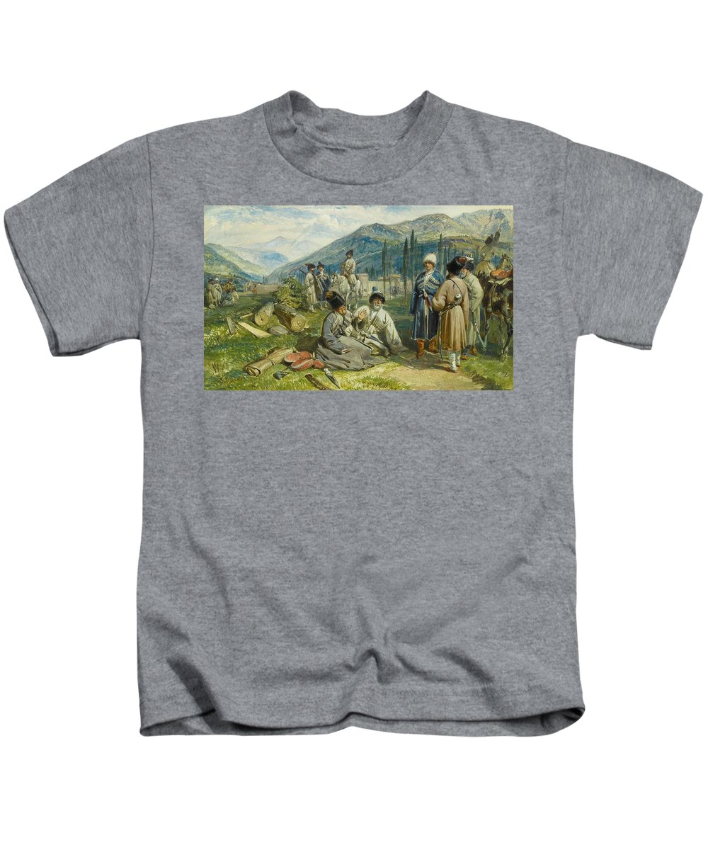 William Simpson (glasgow 1823 - London 1899) Kids T-Shirt featuring the painting at the Fort of Waia by William Simpson