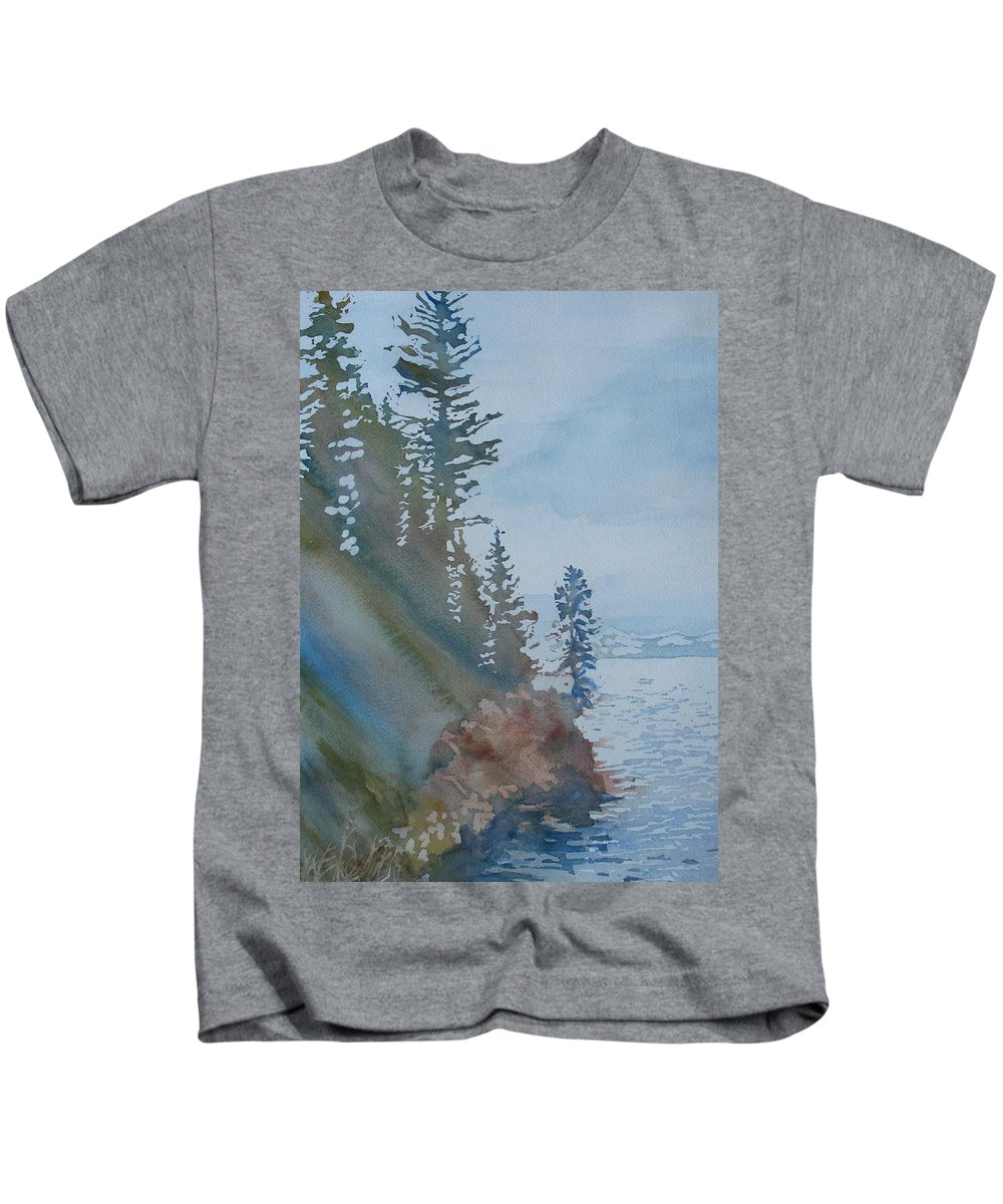Watercolor Kids T-Shirt featuring the painting At The Water's Edge by Jenny Armitage