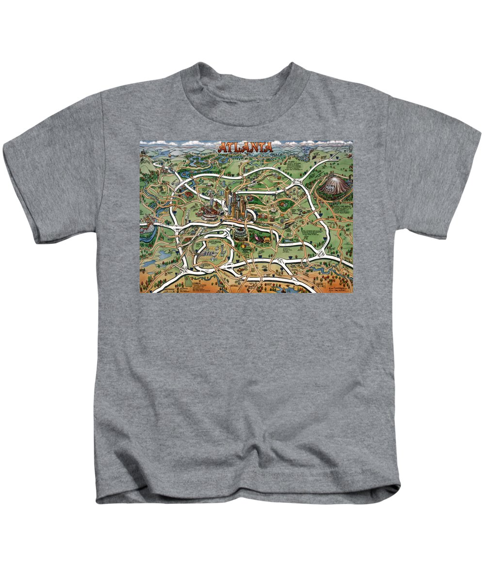 Atlanta Kids T-Shirt featuring the painting Atlanta Cartoon Map by Kevin Middleton