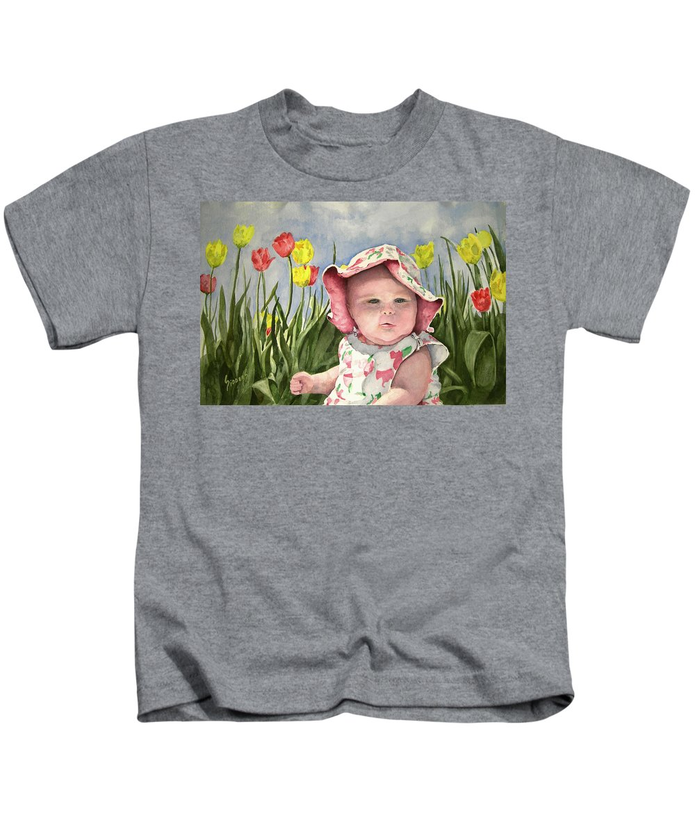 Kids Kids T-Shirt featuring the painting Audrey by Sam Sidders