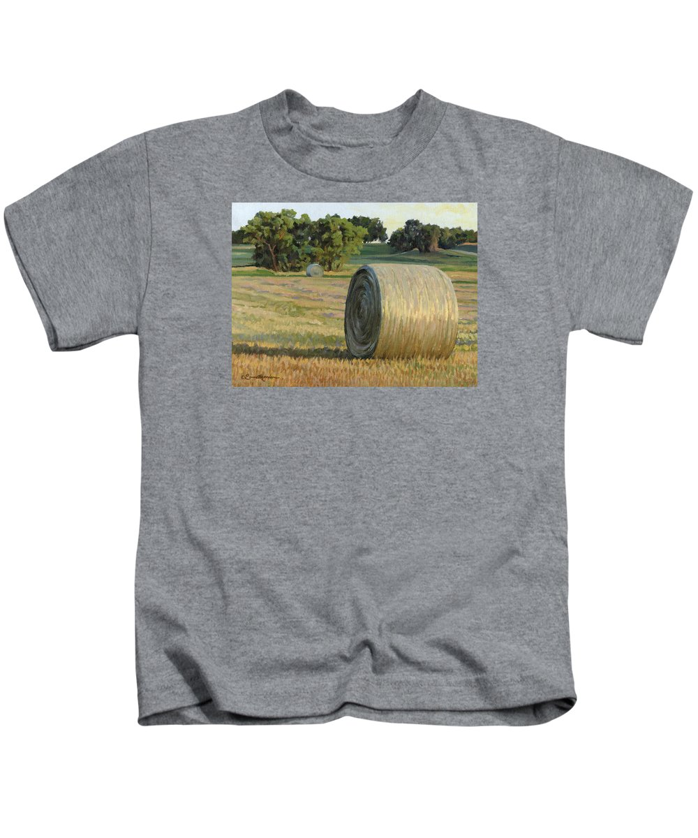 Landscape Kids T-Shirt featuring the painting August Bales by Bruce Morrison