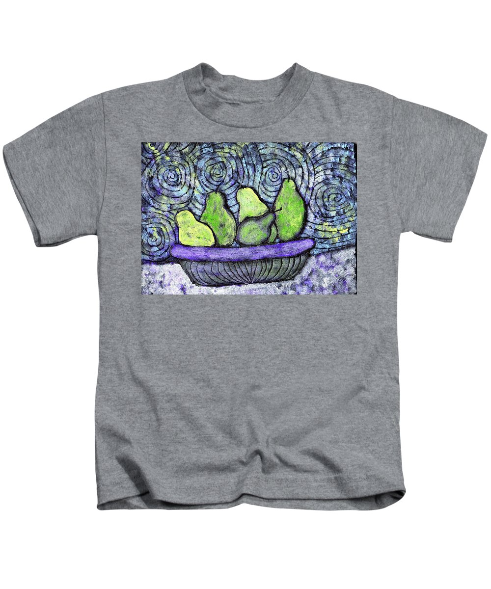Food Kids T-Shirt featuring the painting August Pears by Wayne Potrafka