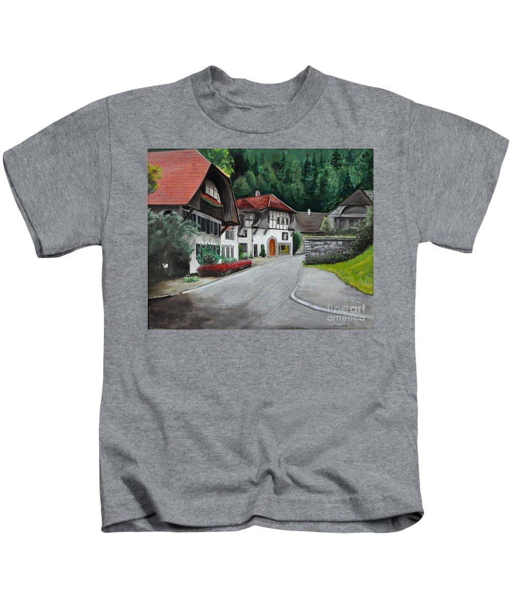 Austria Kids T-Shirt featuring the painting Austrian Village by John Black