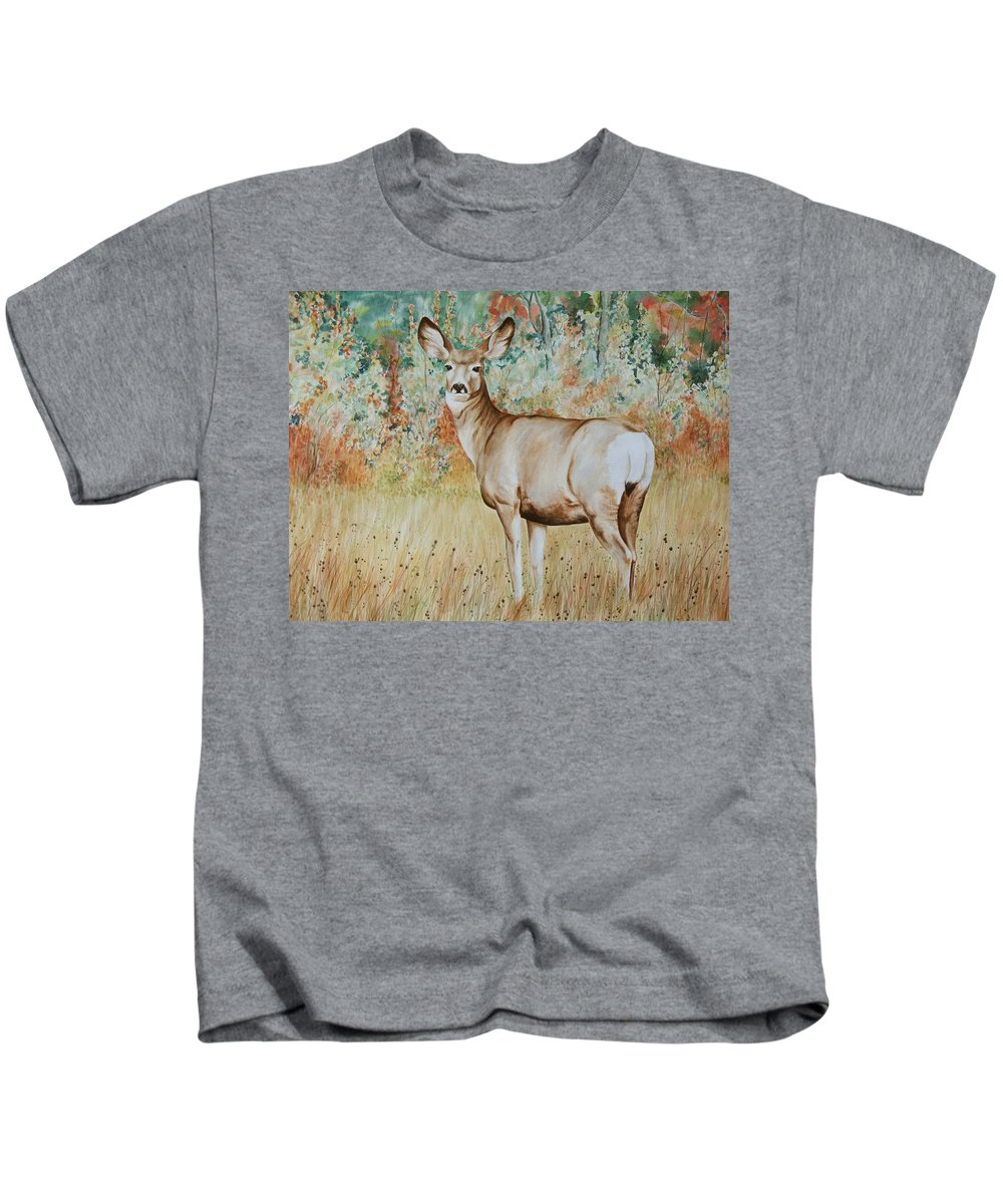 Wildlife Kids T-Shirt featuring the painting Autumn Beauty- Mule Deer Doe by Elaine Booth-Kallweit