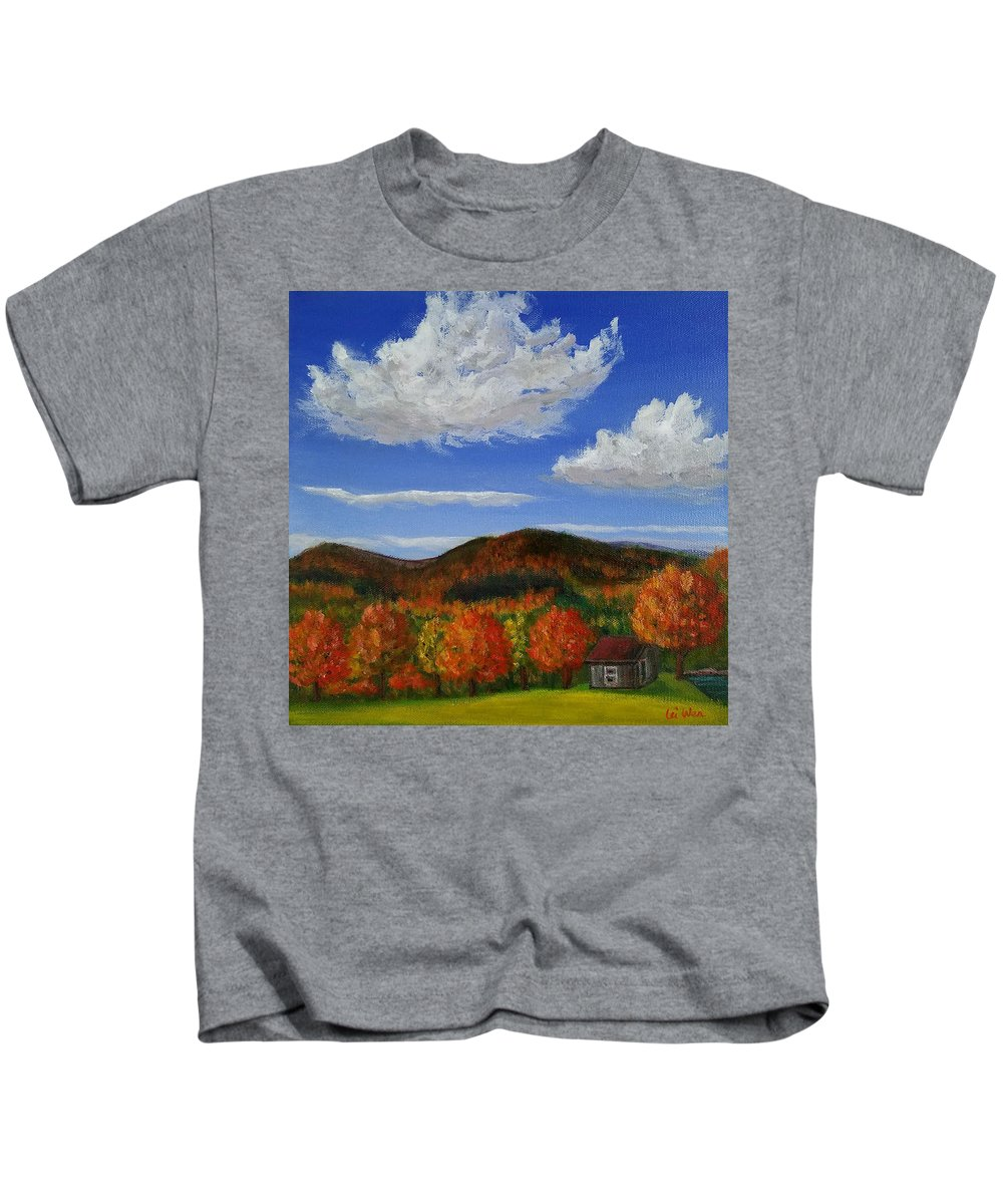 Landscape Painting Kids T-Shirt featuring the painting Autumn Cabin by Lei Wen