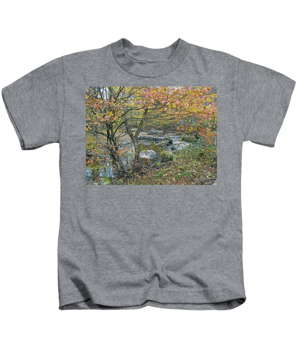 Creek Kids T-Shirt featuring the photograph Autumn Comes To The Unami Creek by Mother Nature