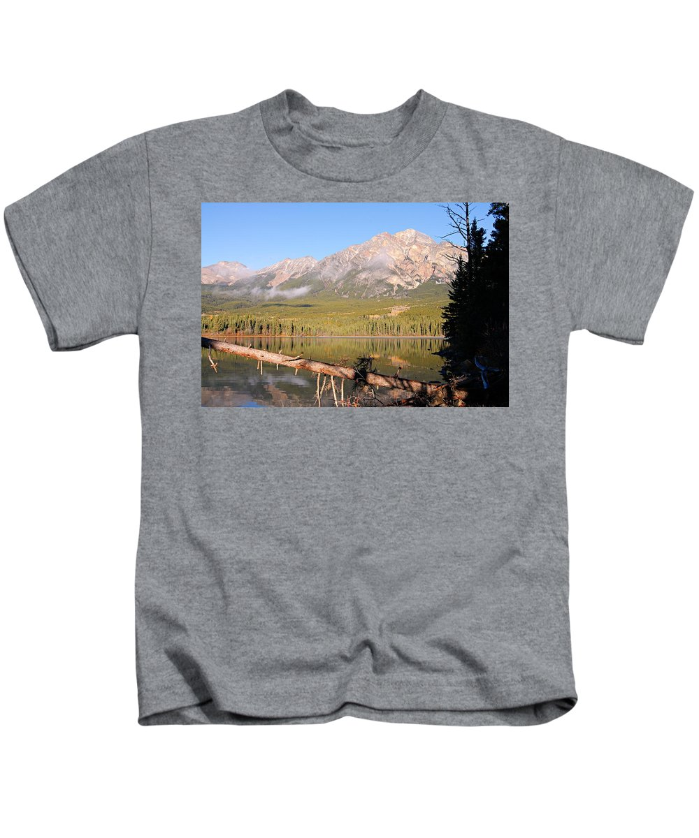 Pyramid Mountain Kids T-Shirt featuring the photograph Autumn Morning At Pyramid Mountain by Larry Ricker