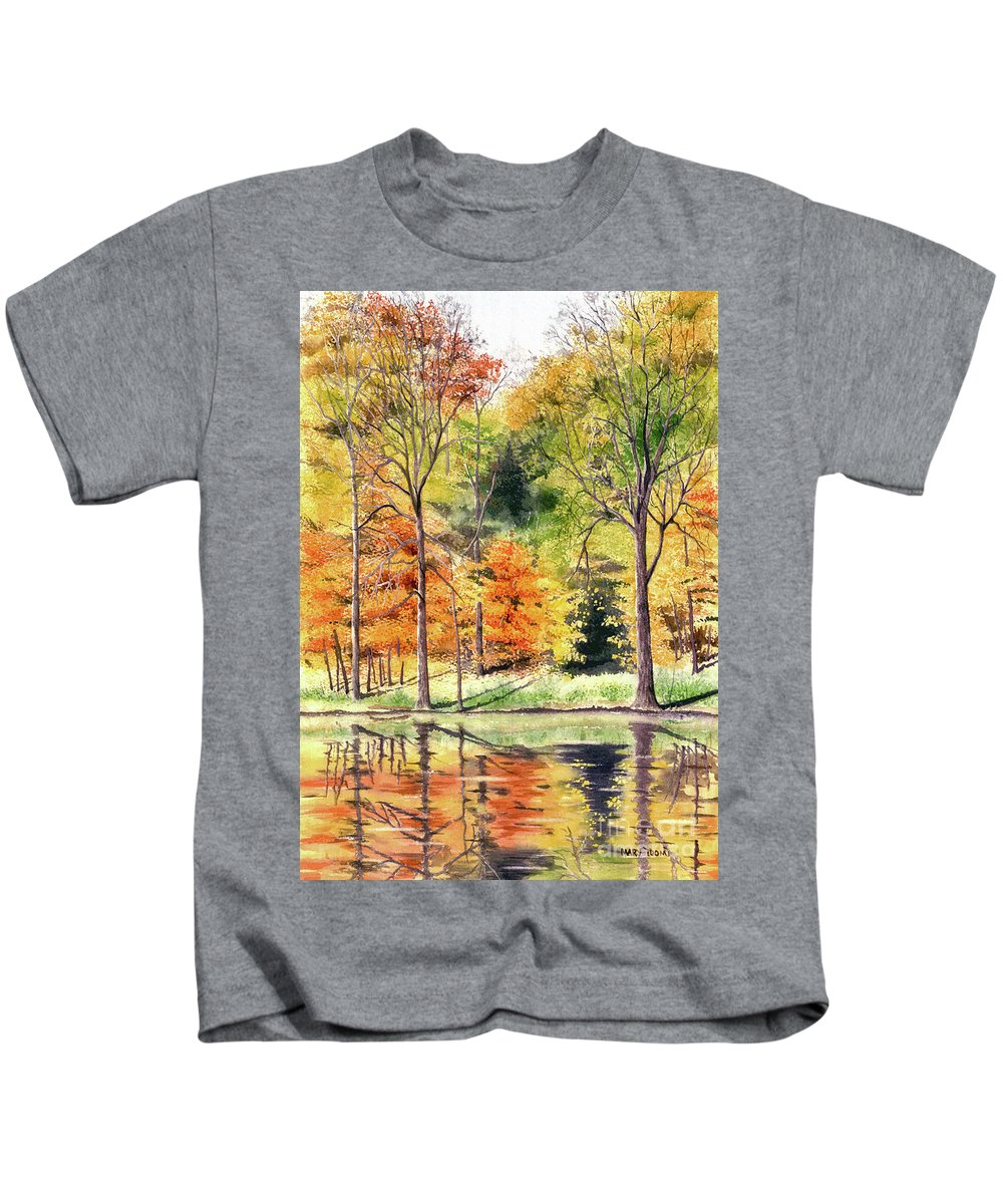 Autumn Kids T-Shirt featuring the painting Autumn Oranges by Mary Tuomi