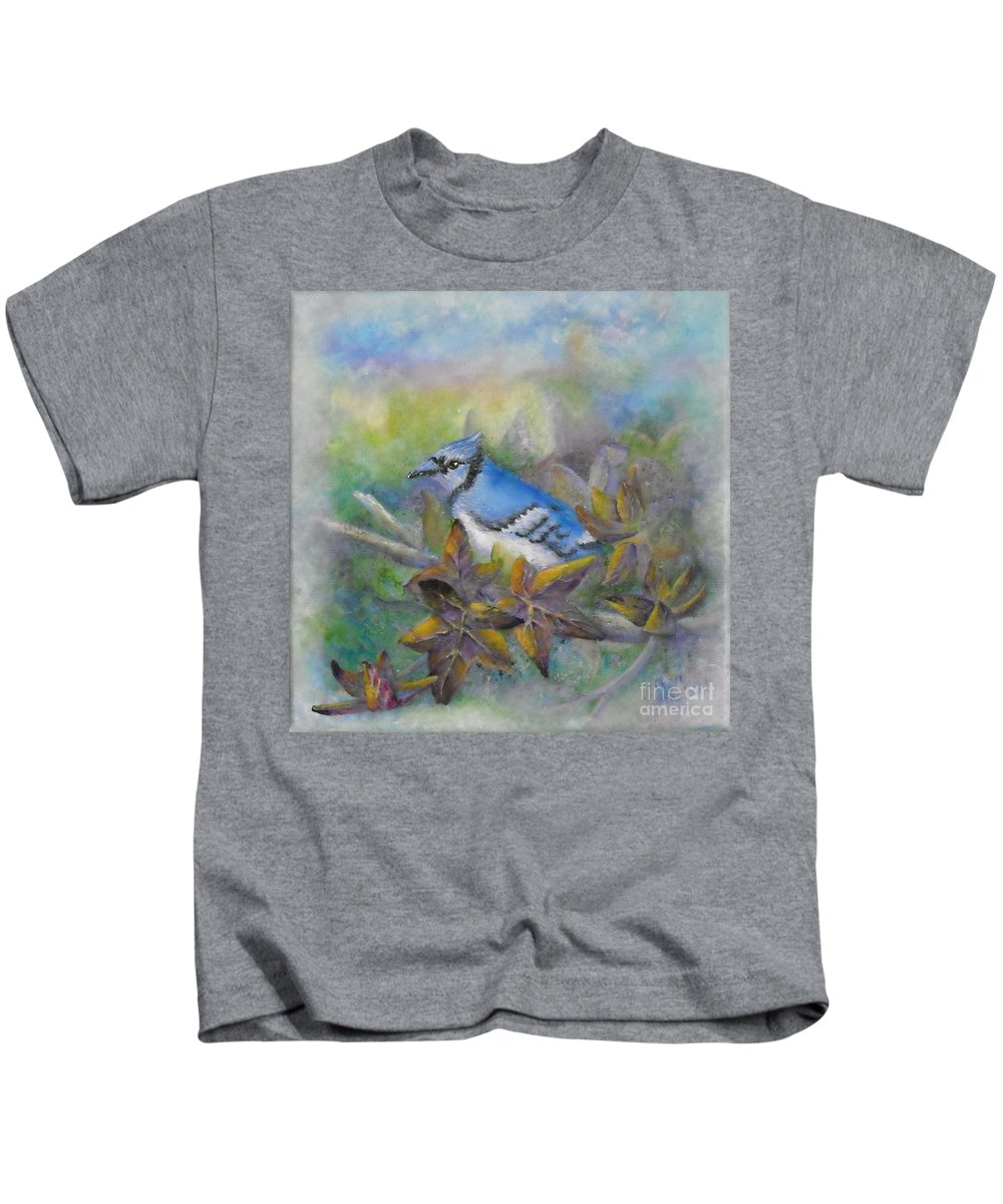 Autumn Kids T-Shirt featuring the painting Autumn Sweet Gum With Blue Jay by Sheri Hubbard