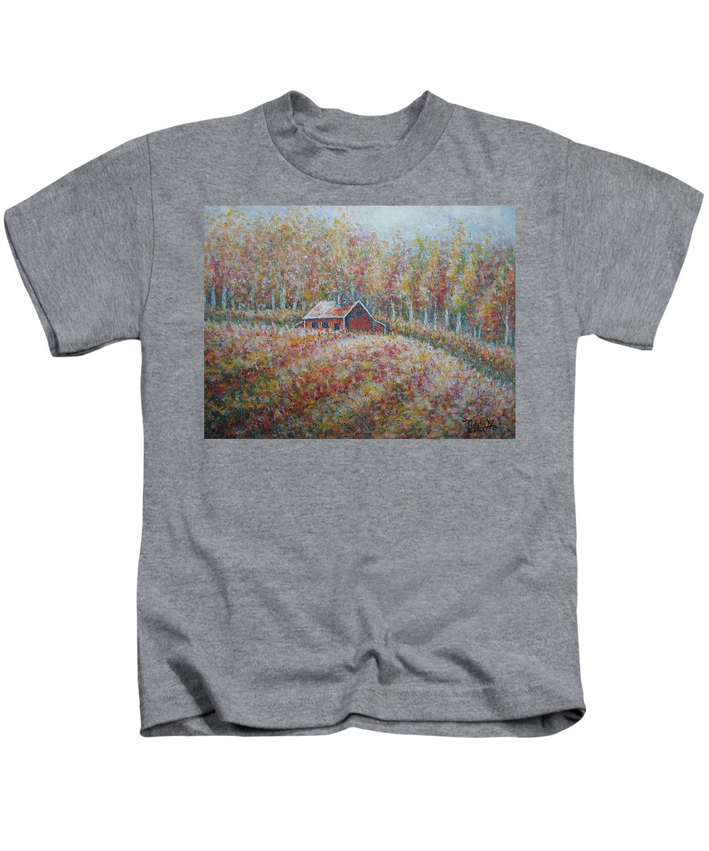 Landscape Kids T-Shirt featuring the painting Autumn Whisper. by Natalie Holland