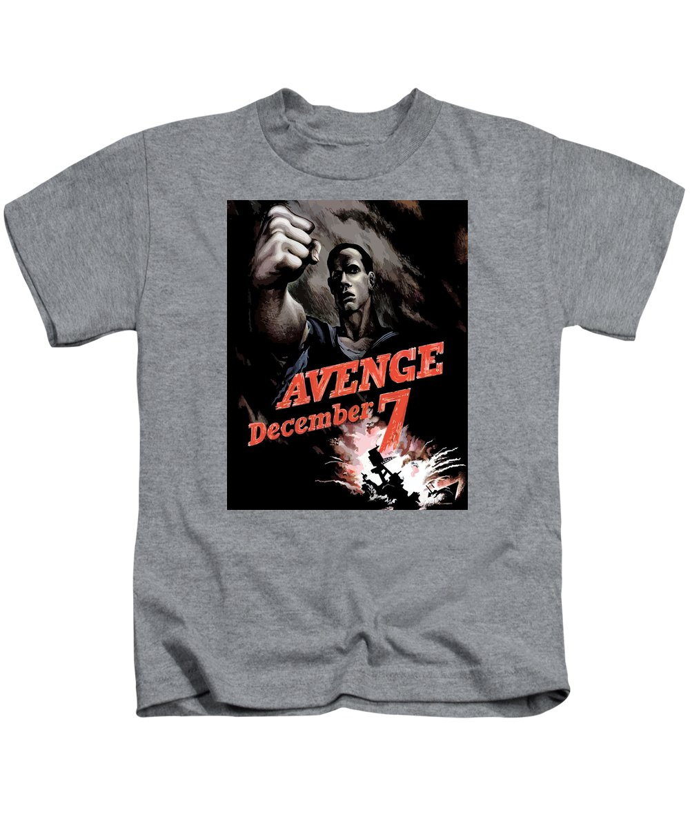 Propaganda Kids T-Shirt featuring the painting Avenge December 7th by War Is Hell Store