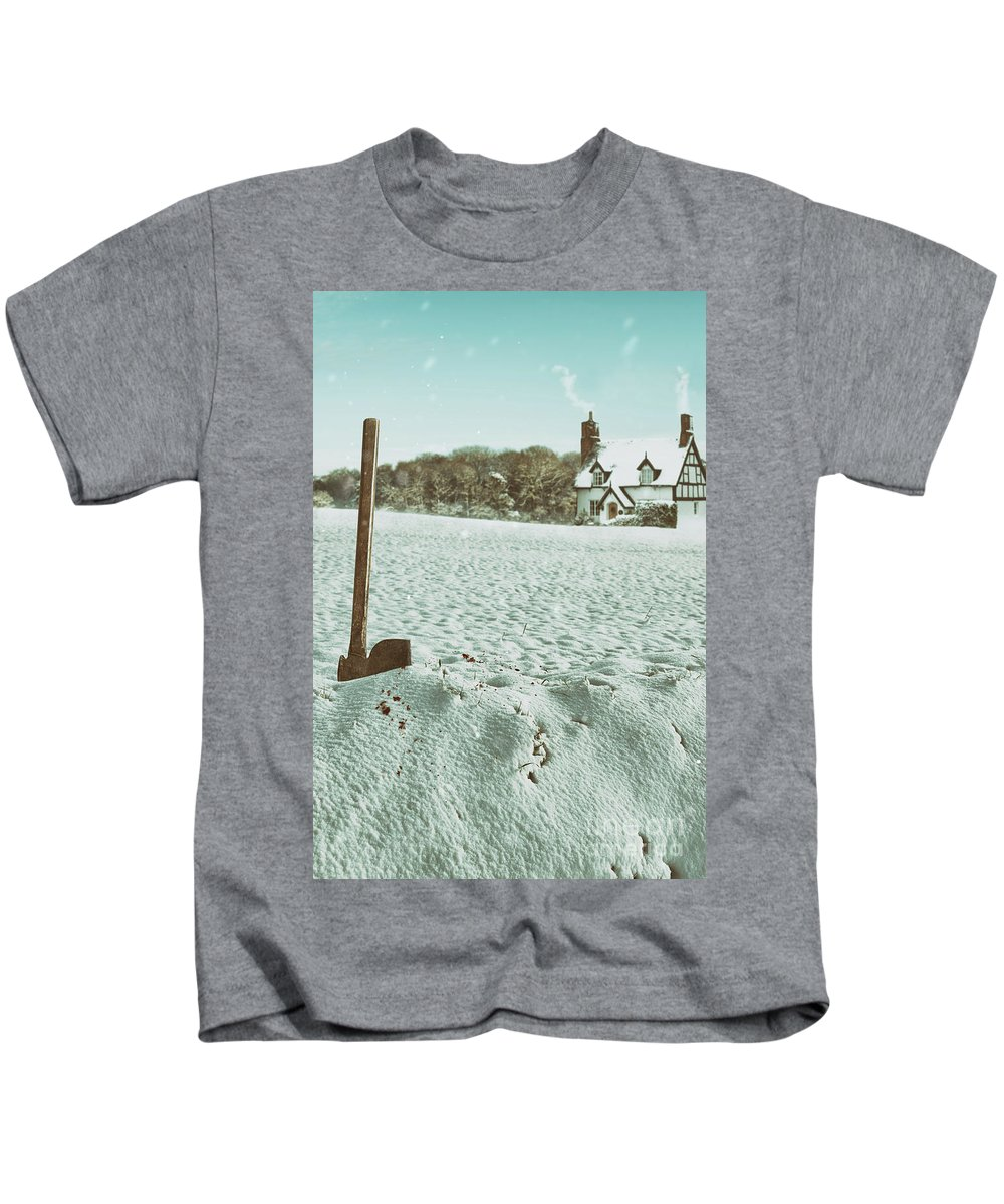 Snow Kids T-Shirt featuring the photograph Axe In The Snow by Amanda Elwell