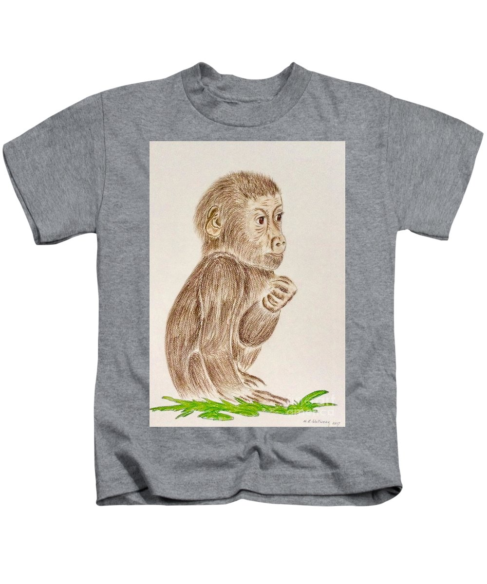 Baby Monkey Kids T-Shirt featuring the pastel Baby Monkey by Natalia Wallwork