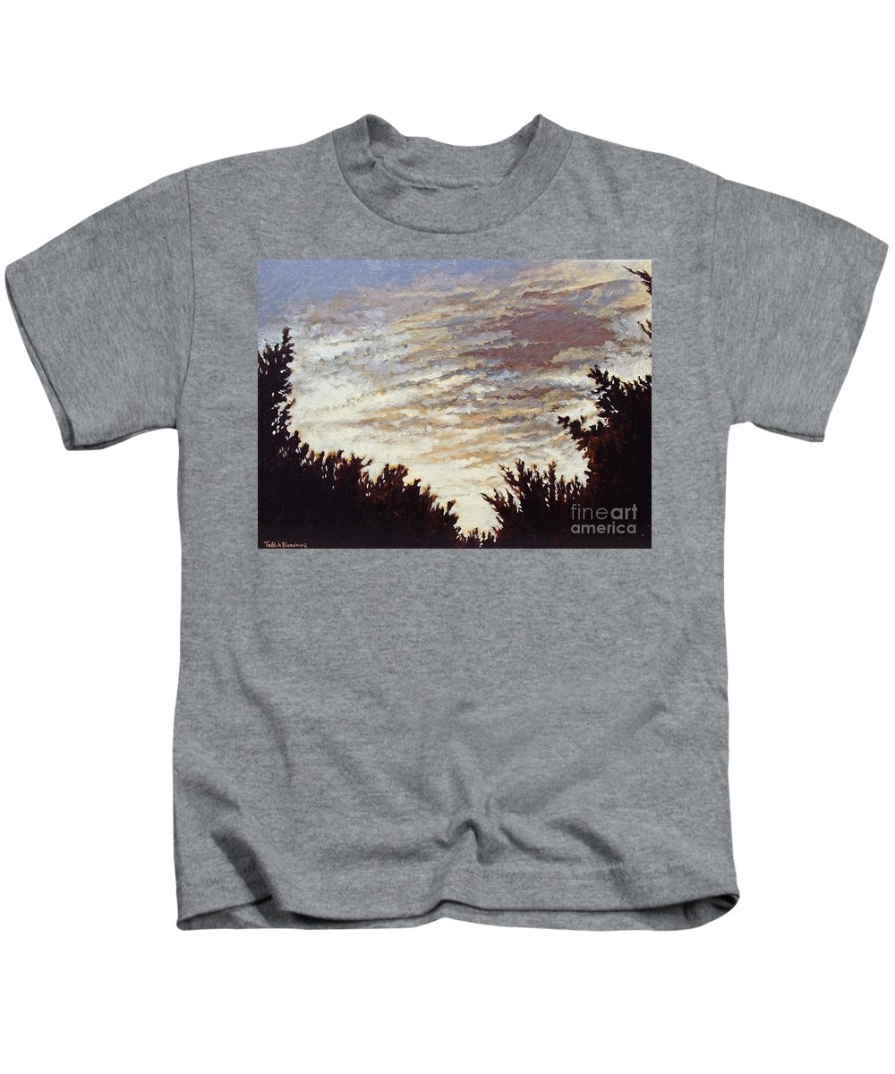 Landscape Kids T-Shirt featuring the painting Backyard Sunset by Todd Blanchard