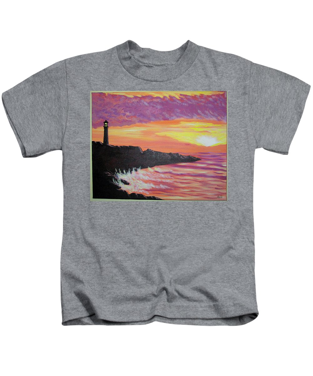 Seascape Kids T-Shirt featuring the painting Bahia At Sunset by Marco Morales