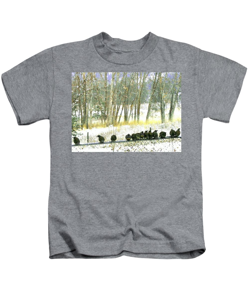 Thirteen Quail Kids T-Shirt featuring the photograph Bakers Dozen by Will Borden
