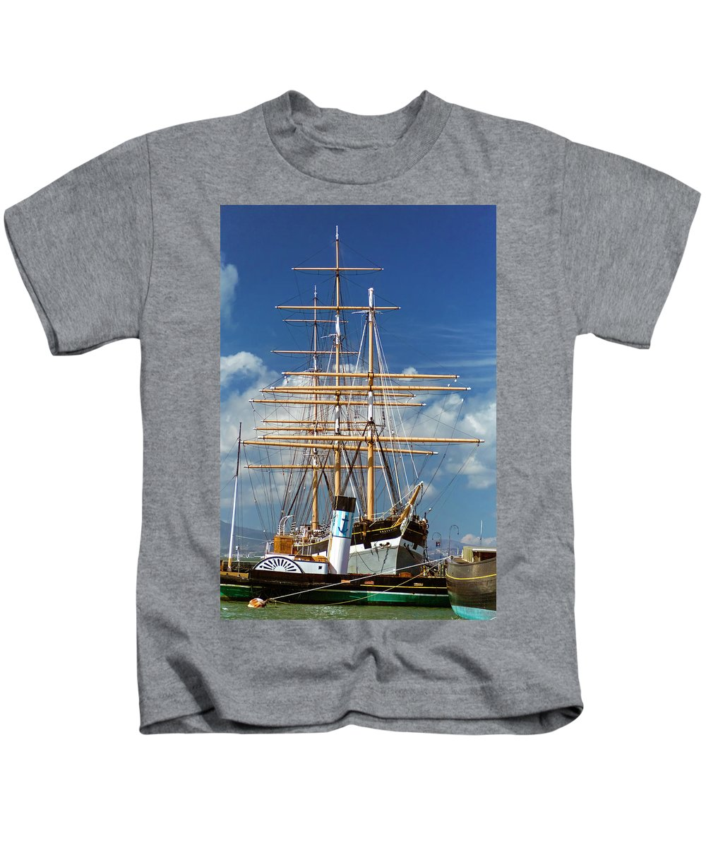 National Park Kids T-Shirt featuring the photograph Balclutha Mast And Rigging by Greg Reed