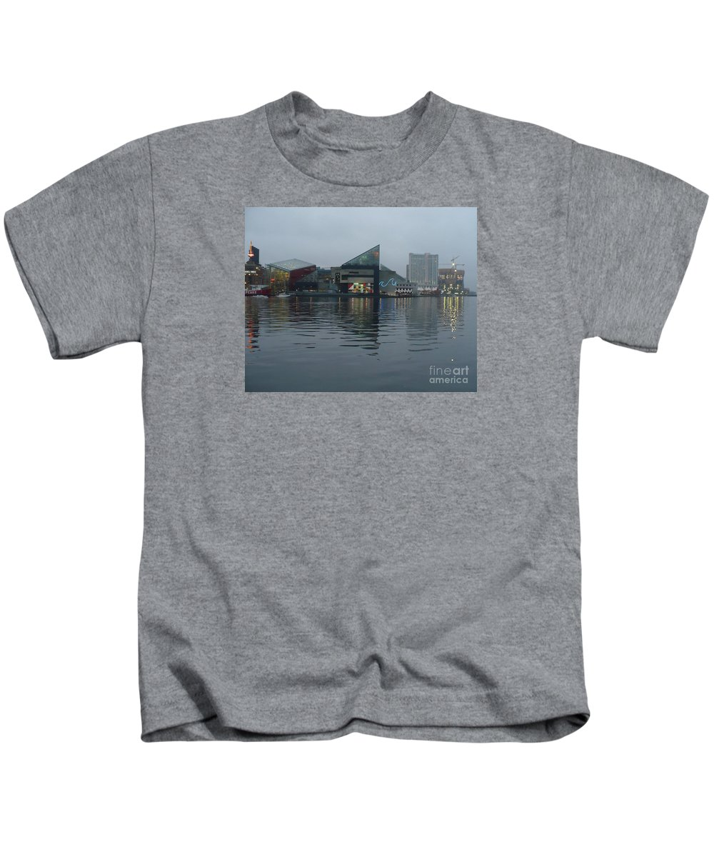 Baltimore Kids T-Shirt featuring the photograph Baltimore Harbor Reflection by Carol Groenen