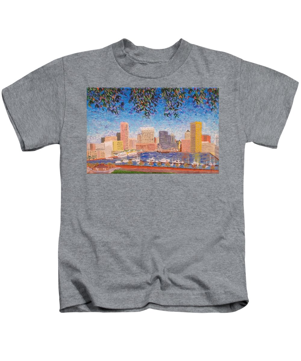Baltimore Kids T-Shirt featuring the painting Baltimore Inner Harbor by Paul Bashore
