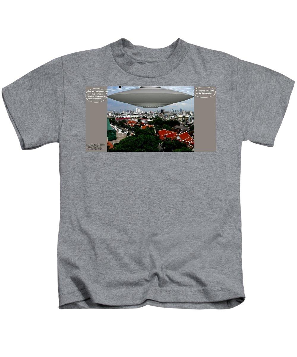 Alien Nutz Comics Kids T-Shirt featuring the mixed media Bangkok 3 by Robert aka Bobby Ray Howle