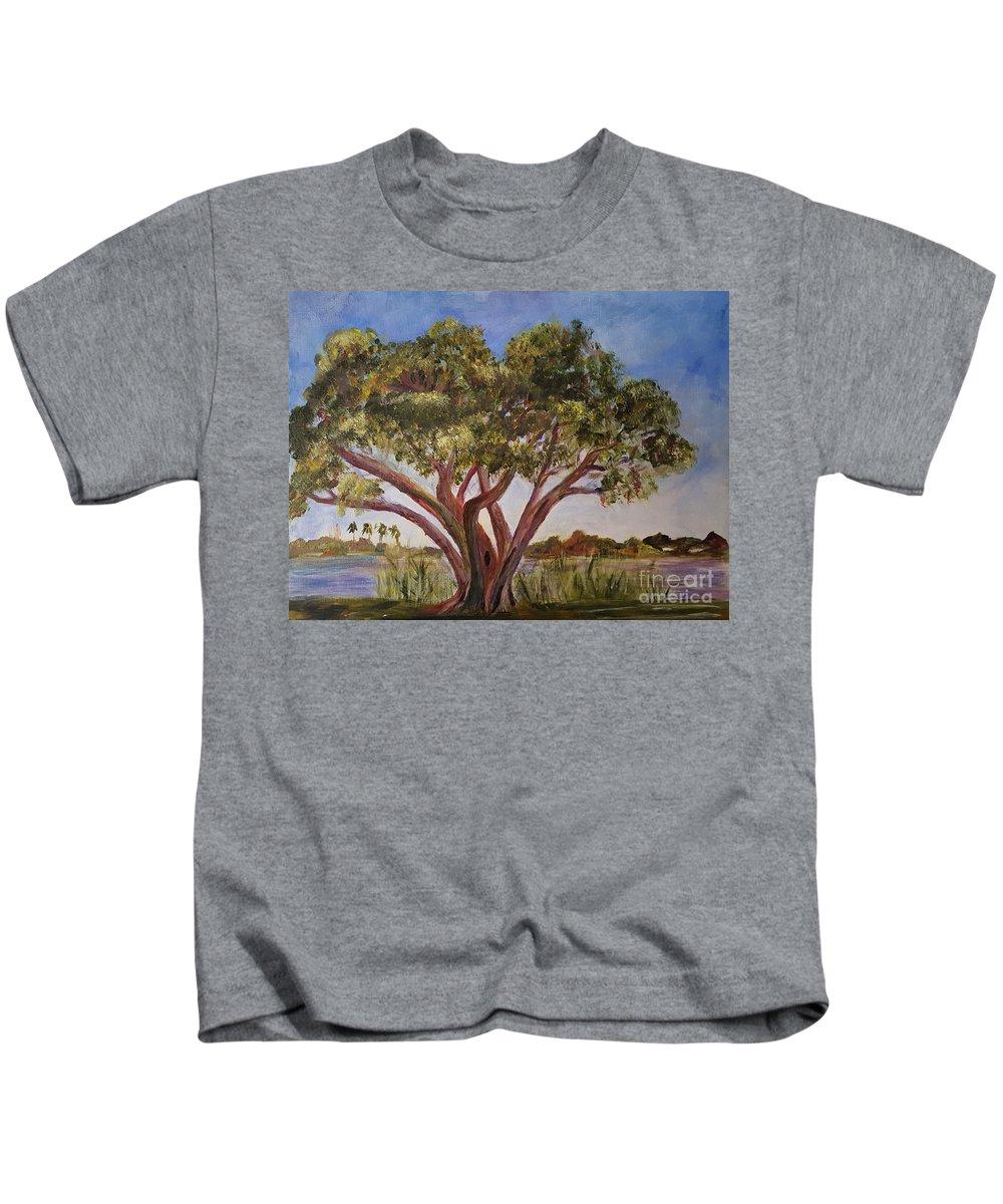 Art Kids T-Shirt featuring the painting Banyon At Lake Ida by Donna Walsh