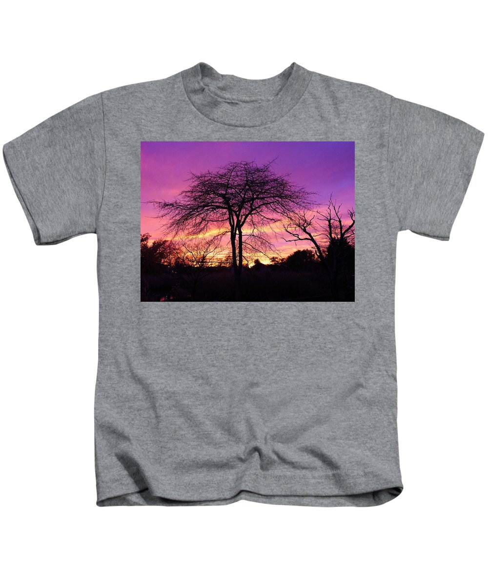 Sunset Kids T-Shirt featuring the photograph Bare Trees In Gorgeous Sunset by Jack Riordan