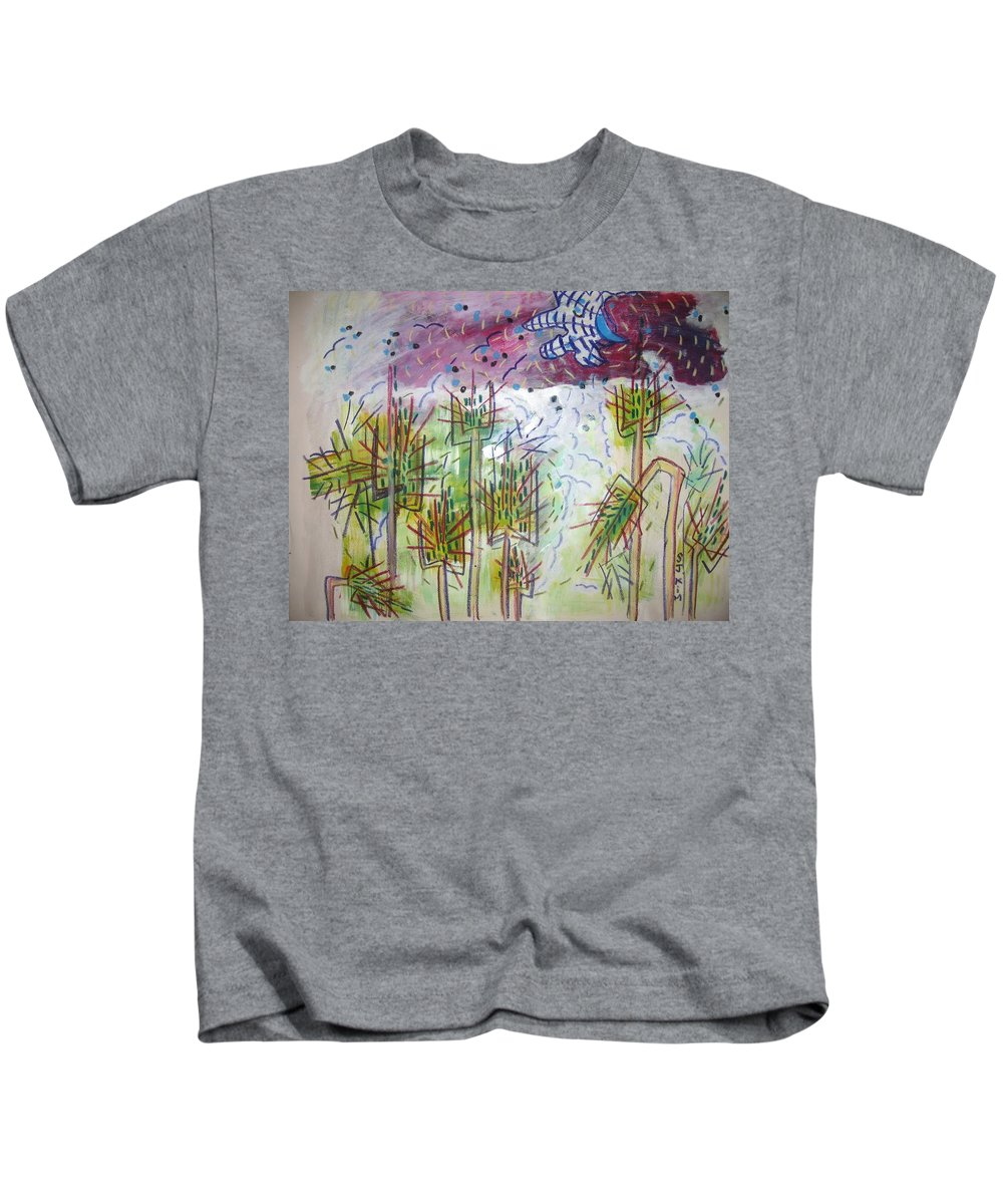 Barly Paintings Kids T-Shirt featuring the painting Barly And The Blue Moon by Seon-Jeong Kim