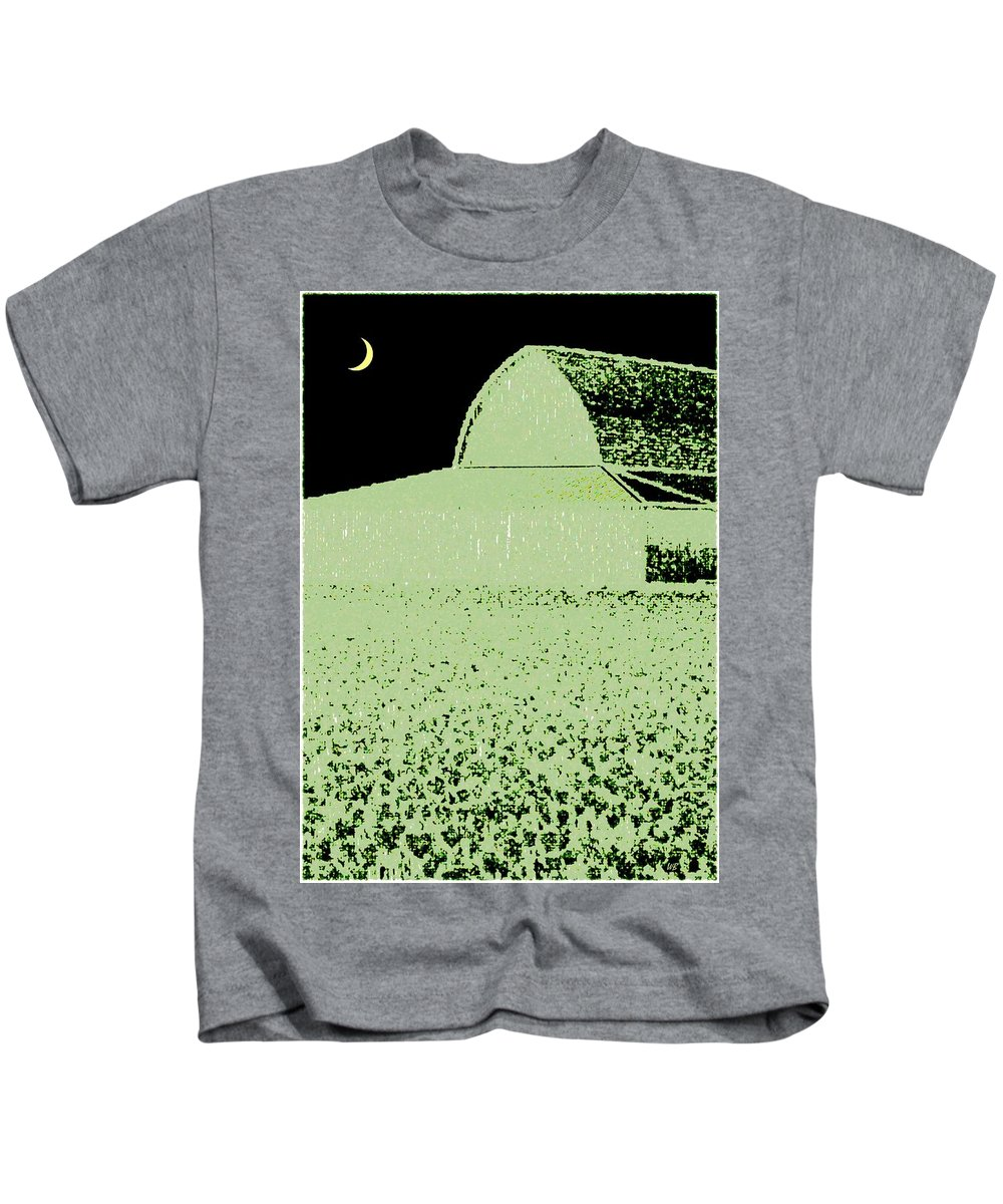 Abstract Kids T-Shirt featuring the digital art Barn Abstract by Will Borden