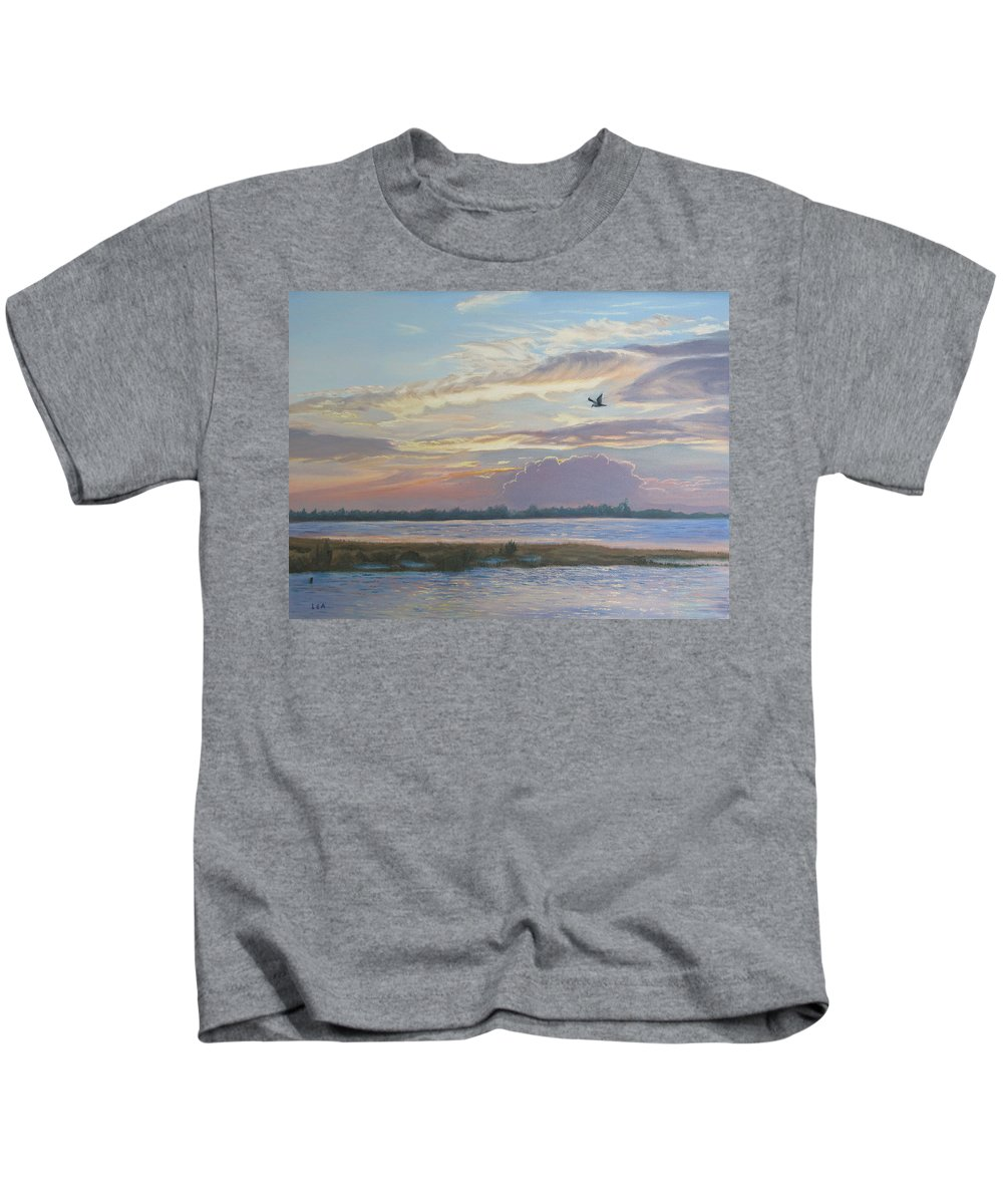 Sunset Painting Kids T-Shirt featuring the painting Barnegat Bay At Sunset by Lea Novak