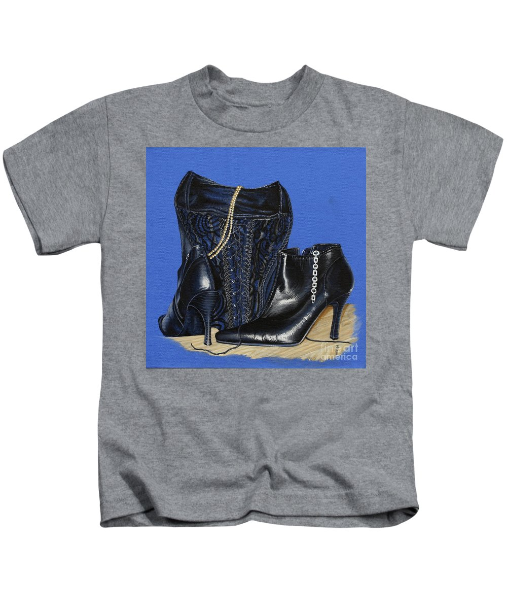 Baroque Still Life Boots Pearls Basque Bracelet Velvet Lace Black Heels Kids T-Shirt featuring the painting Baroque Still Life by Pauline Sharp