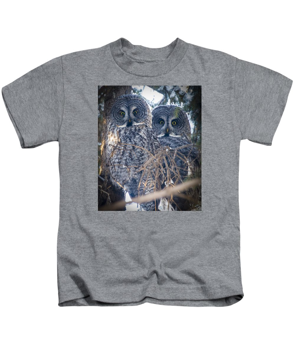 Owls Kids T-Shirt featuring the photograph Barred Owls by Philip Rispin