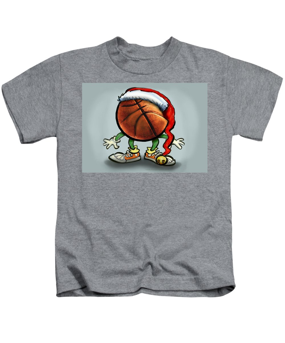 Basketball Kids T-Shirt featuring the greeting card Basketball Christmas by Kevin Middleton