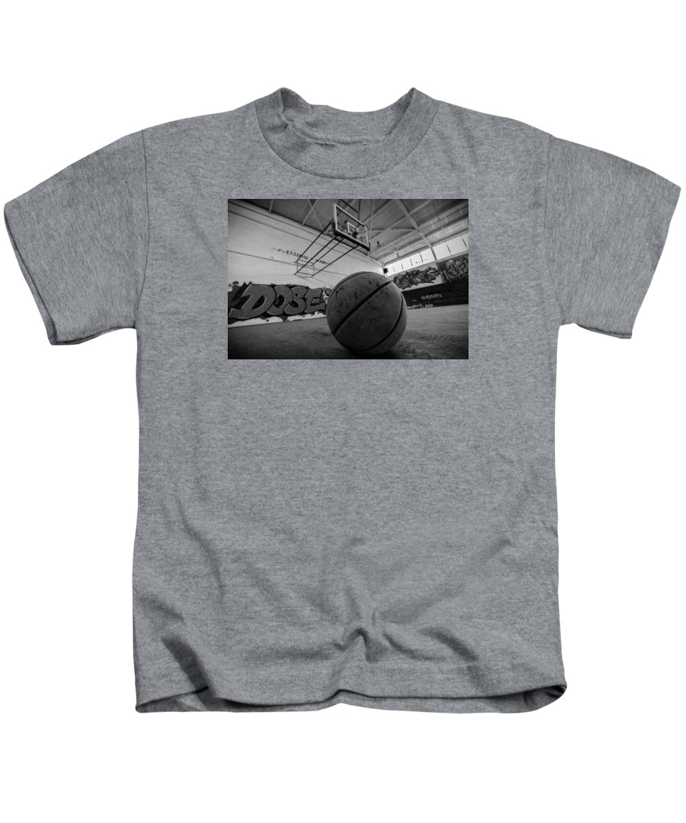 Black And White Kids T-Shirt featuring the photograph Basketball by Mike Dunn