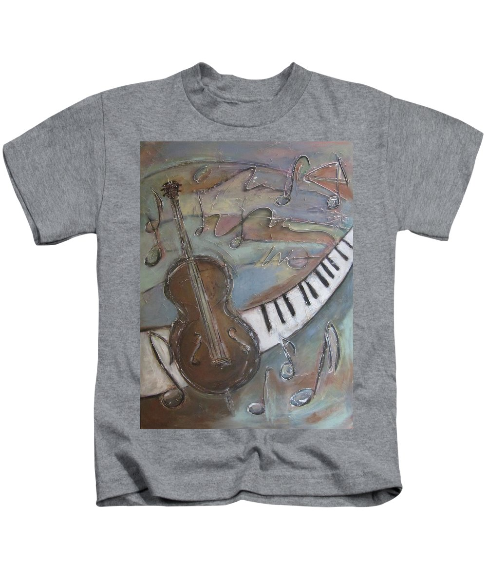 Painting Kids T-Shirt featuring the painting Bass And Keys by Anita Burgermeister