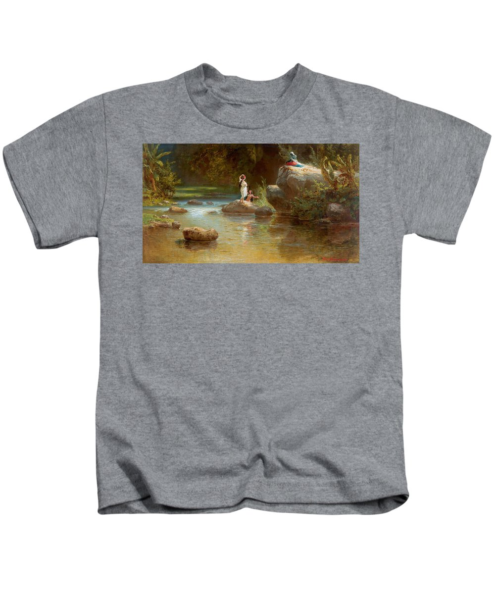 Ferdinand Konrad Bellermann Kids T-Shirt featuring the painting Bathers At The River. Evening In Orinoco? by Ferdinand Konrad Bellermann