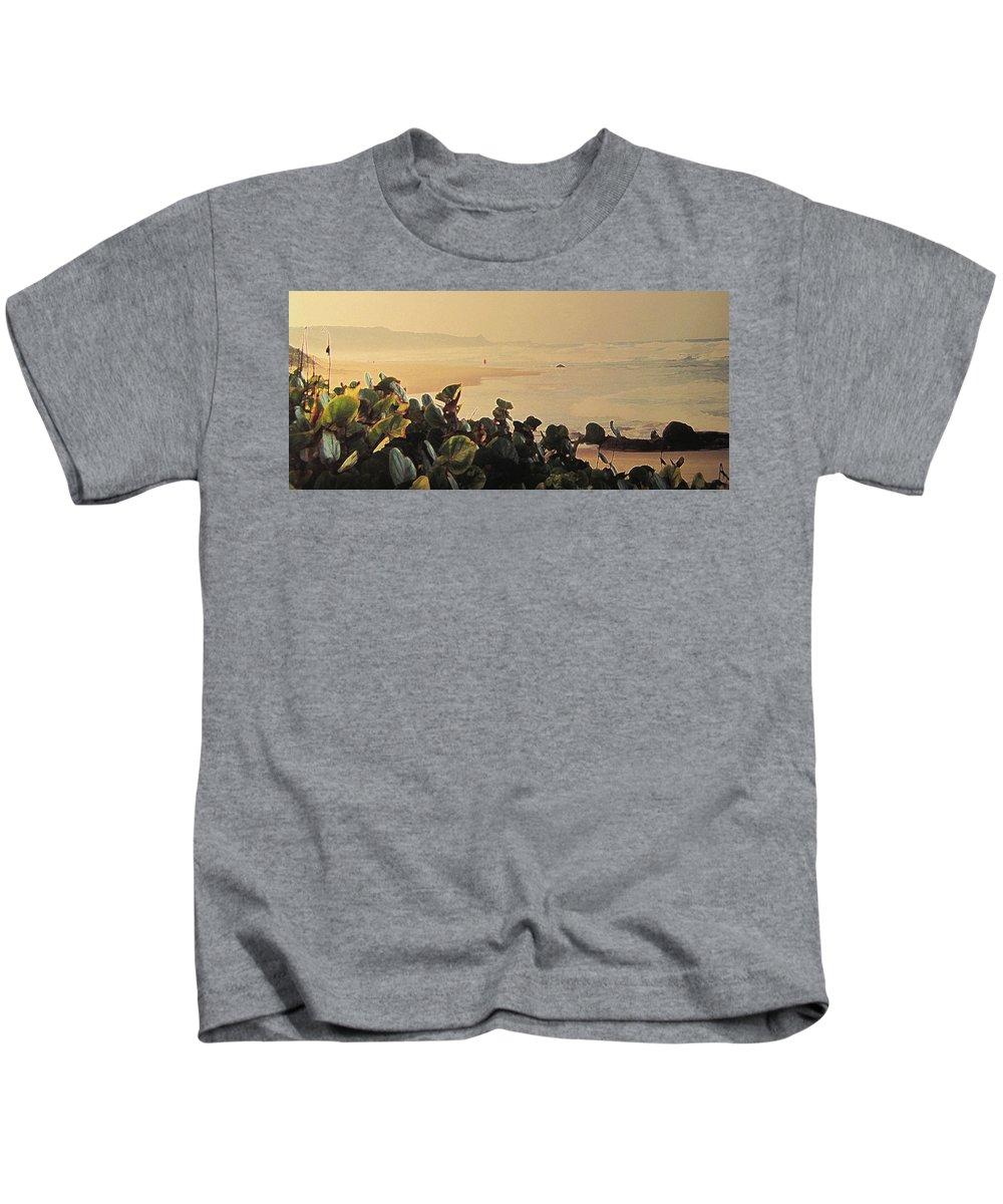 Bathsheba Kids T-Shirt featuring the photograph Bathsheba Beach Walk by Ian MacDonald