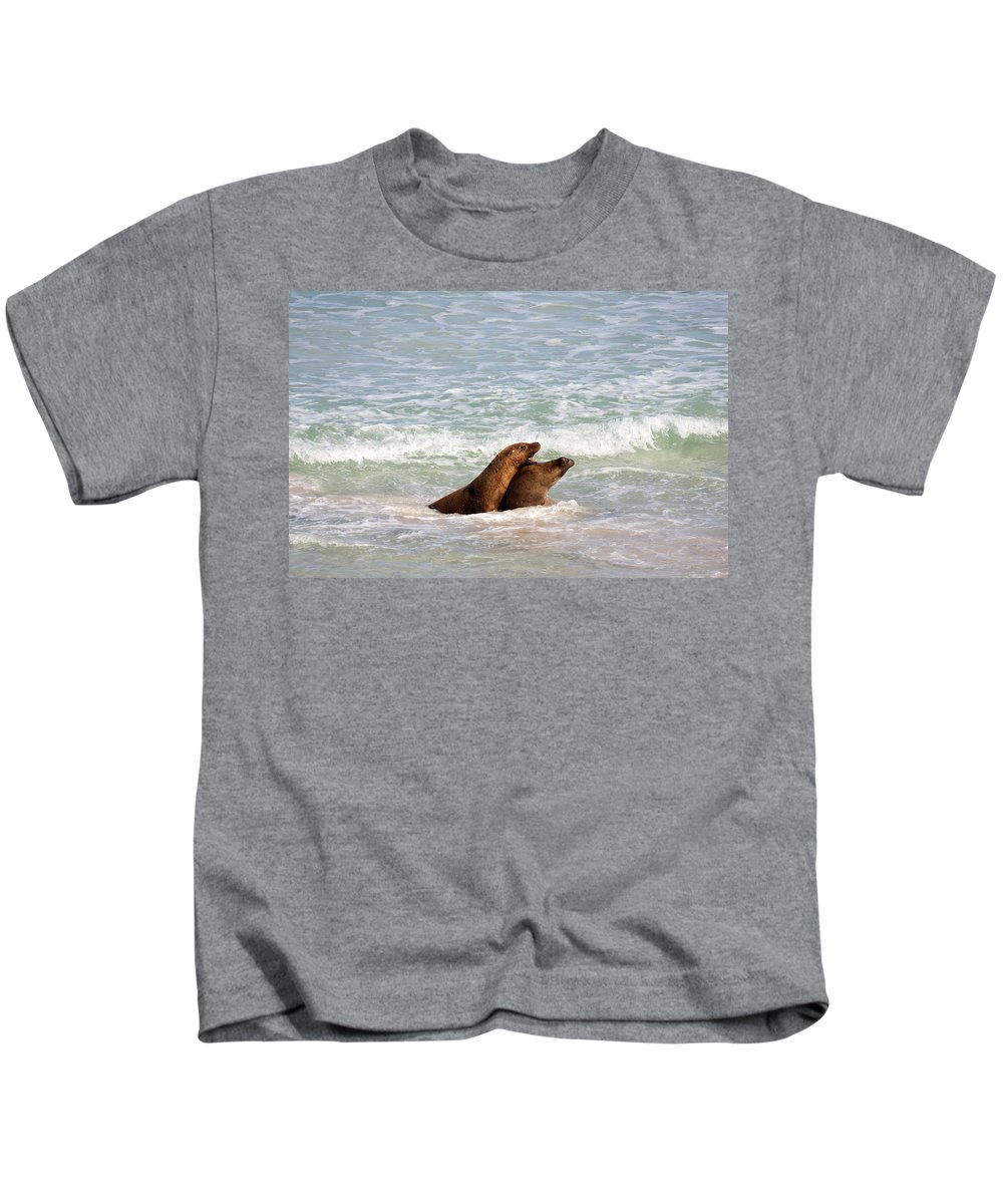 Sea Lion Kids T-Shirt featuring the photograph Battle For The Beach by Mike Dawson