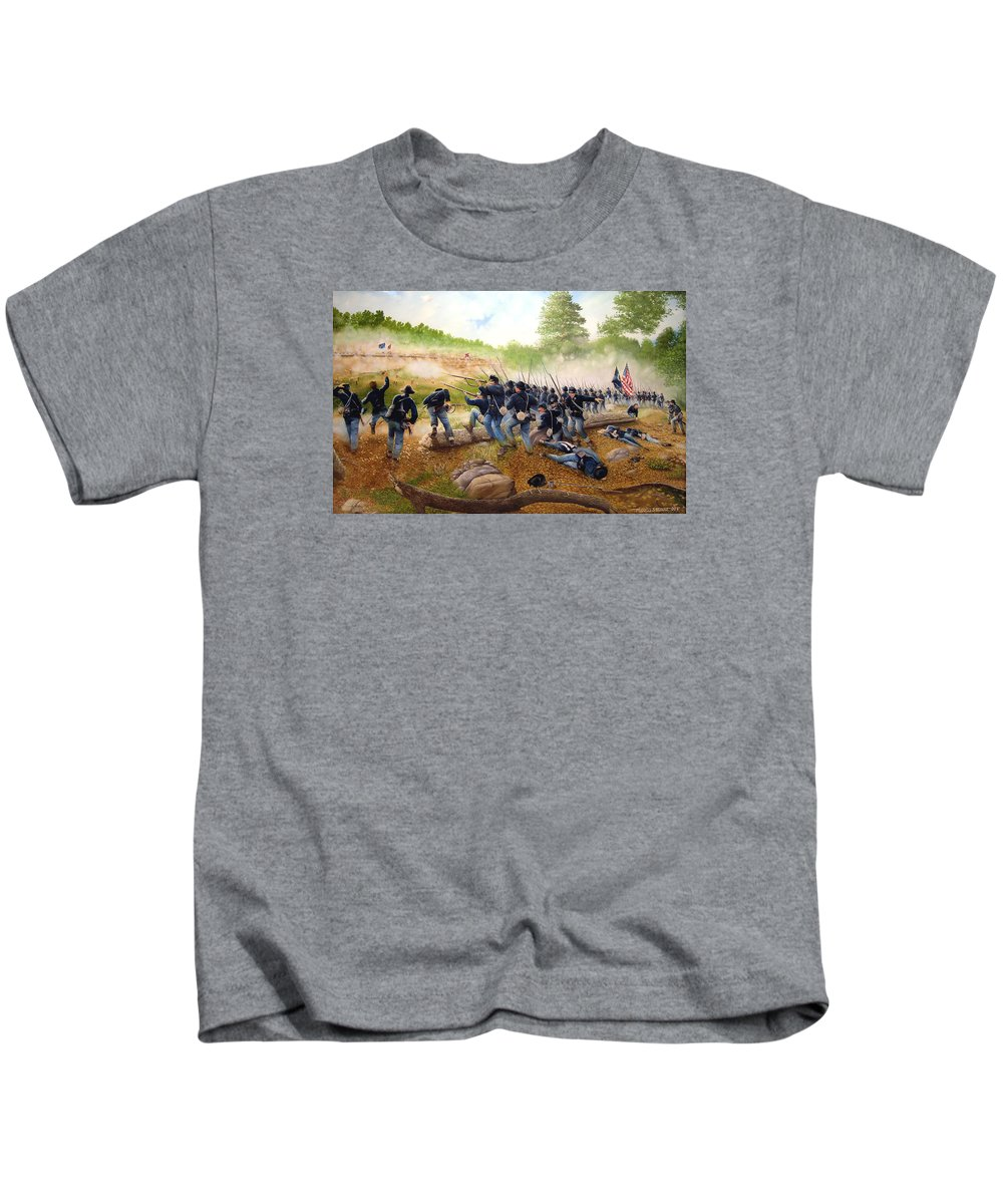 Civil War Kids T-Shirt featuring the painting Battle Of Utoy Creek by Marc Stewart