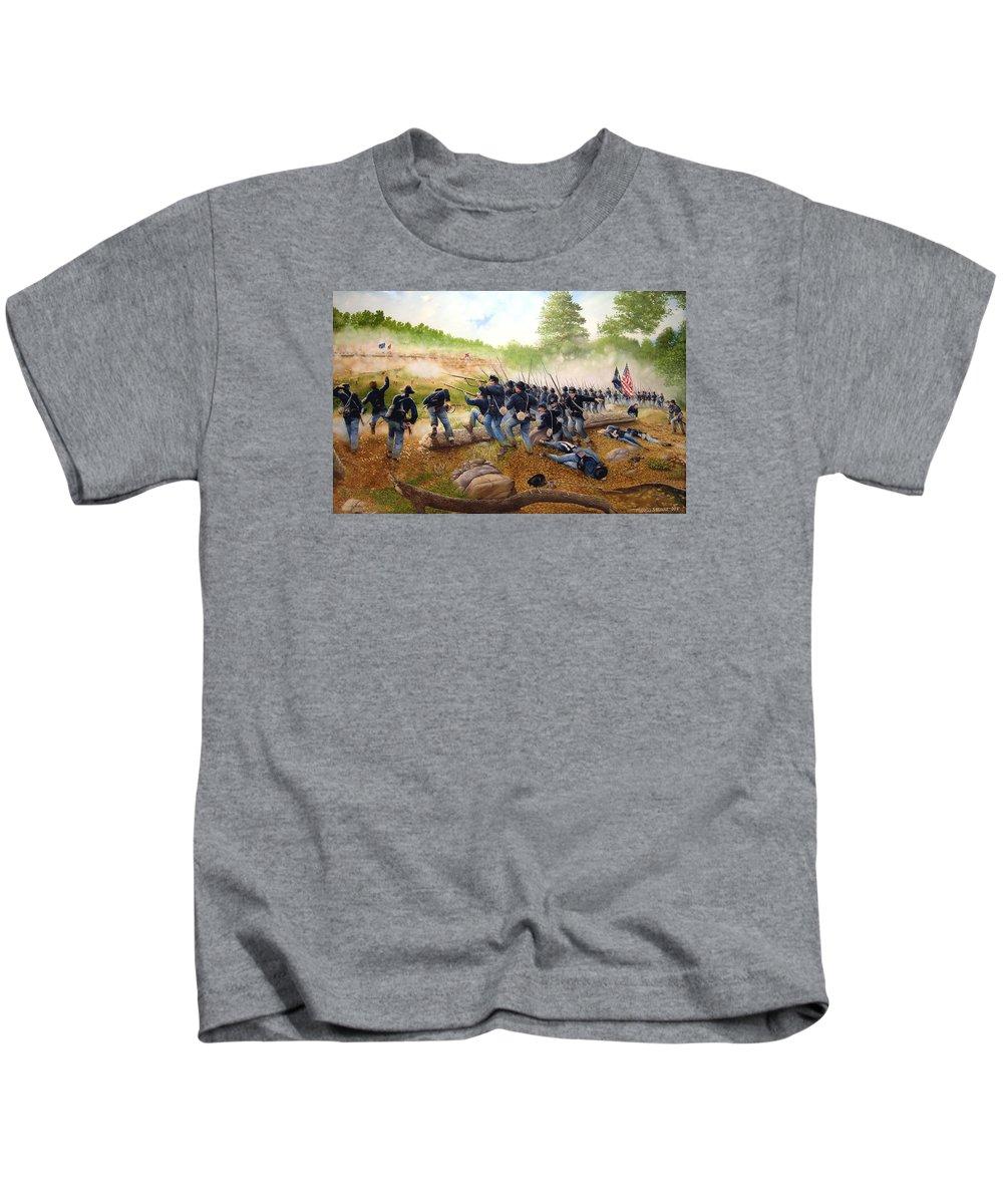 Civil War Kids T-Shirt featuring the painting Battle Of Utoy Creek by Marc Stewart