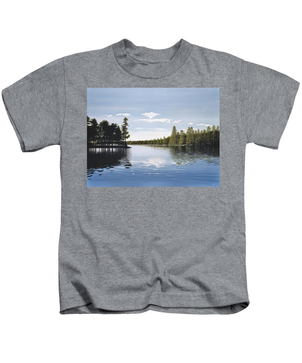 Landscapes Kids T-Shirt featuring the painting Bay On Lake Muskoka by Kenneth M Kirsch